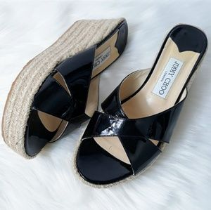 Jimmy Choo Black Patent Leather Espadrille Wedges